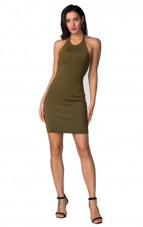 Herve Leger Bandage Dress Halter Neck Backless Green