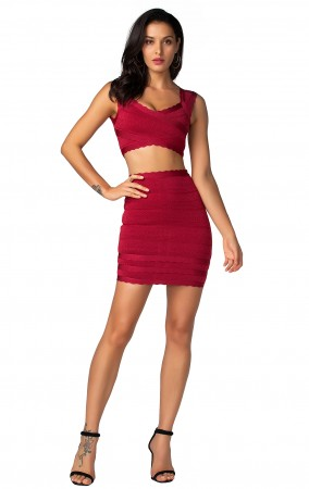 Herve Leger Bandage Dresses Two Piece Red Club Party Dress