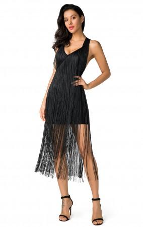 Herve Leger Black Fringe Midi Dress