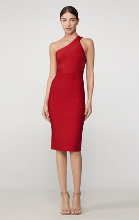 Herve Leger Icon One Shoulder Sheath Dress Red