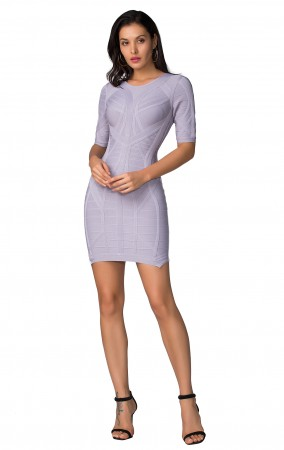 Herve Leger Bandage Dress O Neck Half Sleeve Grey