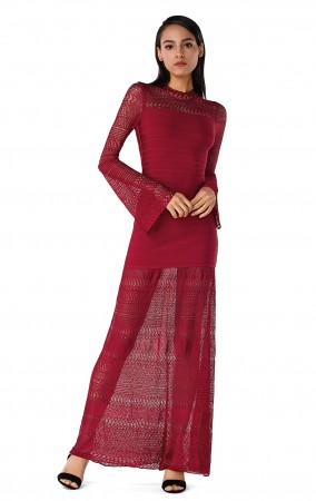 Herve Leger Multi-Textural Chevron Pointelle Gown Red