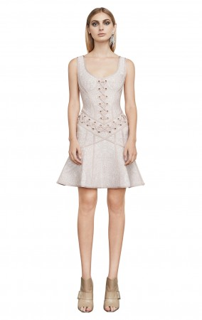 Herve Leger Katrina Lace-Up Grommet Dress