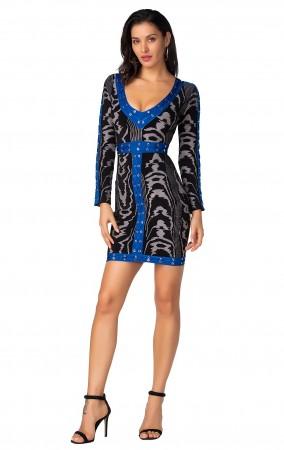 Herve Leger Bandage Dress Long Sleeve V Neck Leopard Black Blue