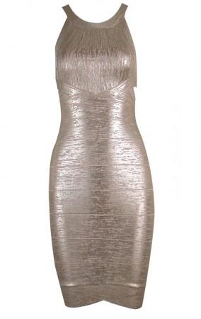 Herve Leger Open-Back Scoop-Neck metallic Bandage Dress