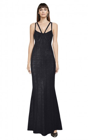 Herve Leger Bandage Dress Long Gown Foil Black Yoke Strap