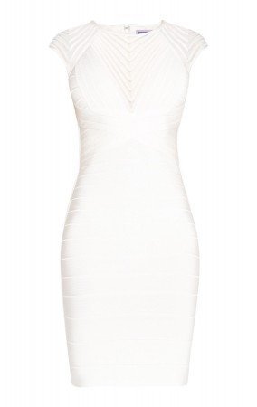 Herve Leger Deanna Tulle Applique Dress Alabaster