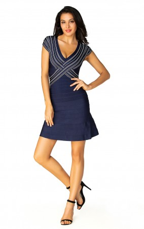 Herve Leger Bandage Dress Flared V Neck Crisscross Blue