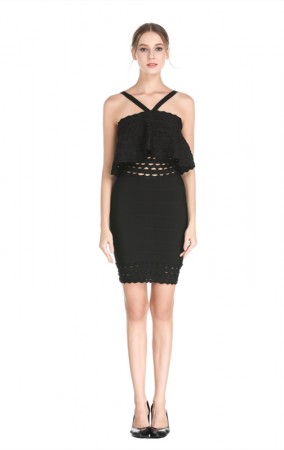 Herve Leger Bandage Dress Halter Neck Flouncing Black