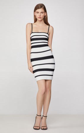 Herve Leger Striped Strappy Mini Dress - Alabaster Black Combo