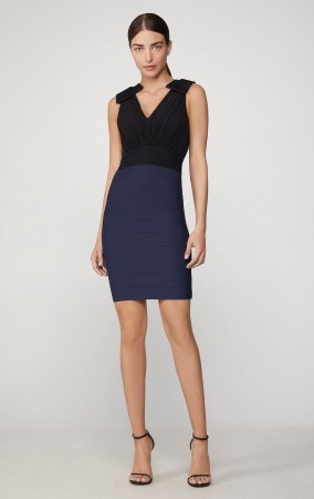 Herve Leger Tulle Bandage Neck Bow Dress