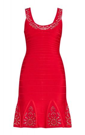 Herve Leger Blakely Multi-Eyelet Dress Lipstick Red