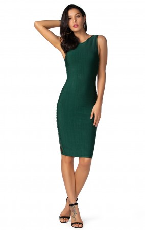 Herve Leger Bandage Dresses Low Neck Cut Out Green