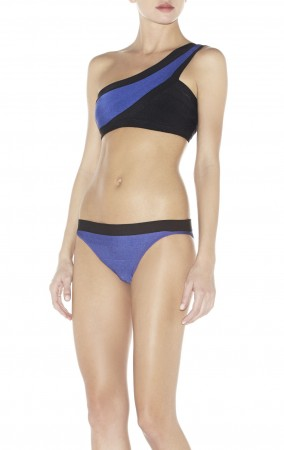 Herve Leger Bandage Dresses One Shoulder Bandage Bikini Black Blue