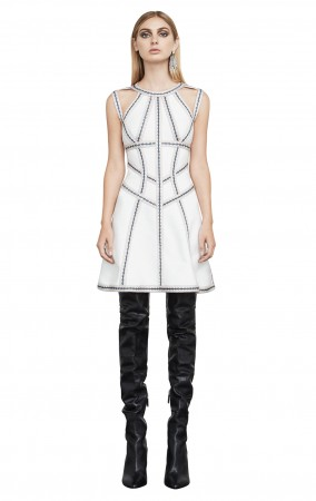 Herve Leger Eliza Geometric Jacquard Bandage Dress