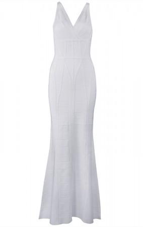 Herve Leger Bandage Dress Long Gown V Neck White