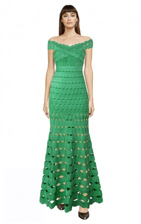 Herve Leger Bandage Dress Long Gown Off Shoulder Crisscross Green