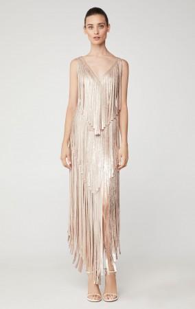 Herve Leger Izabel Metallic Fringe Dress