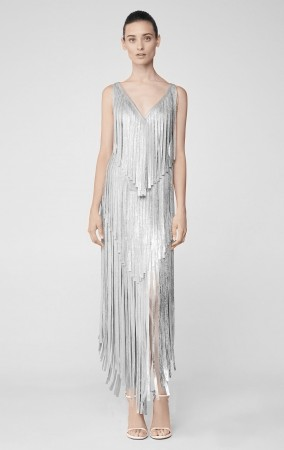 Herve Leger Izabel Silver Fringe Dress