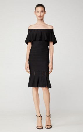 Herve Leger Eyelet Stripe Pleated Dress