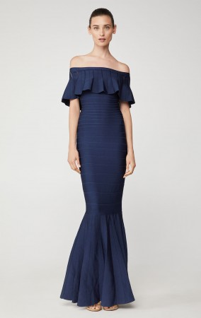 Herve Leger Eyelet Stripe Pleated Gown