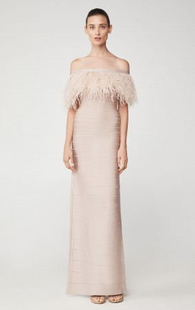 Herve Leger Ostrich Feather Bandage Gown
