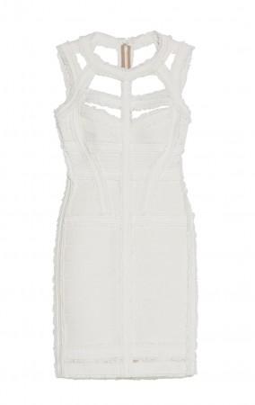 Herve Leger Madyson Chiffon Detail Dress White