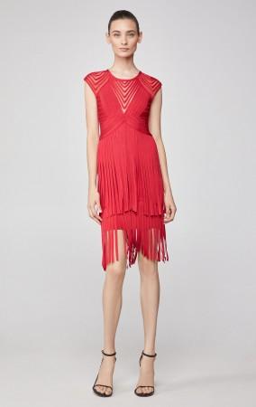 Herve Leger Asymmetrical Fringe Bandage Dress