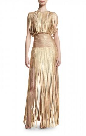 Herve Leger Bandage Dress Long Gown Tassels Foil Gold