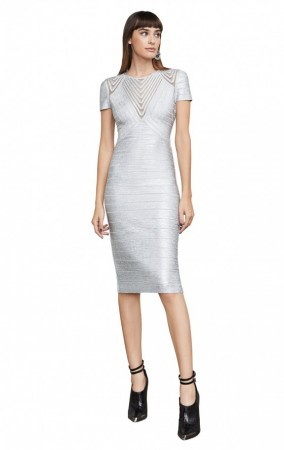 Herve Leger Irdsopalco Avery Foiled Bandage Applique Dress
