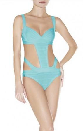 Herve Leger Bandage Dresses Strappy Bandage Bikini Blue