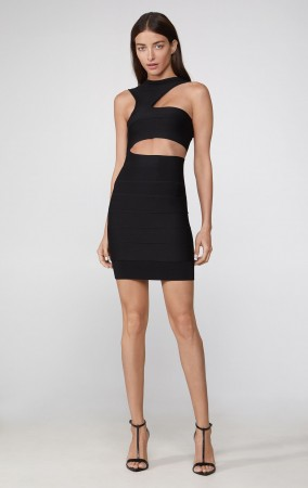 Herve Leger Asymmetrical Mini Dress