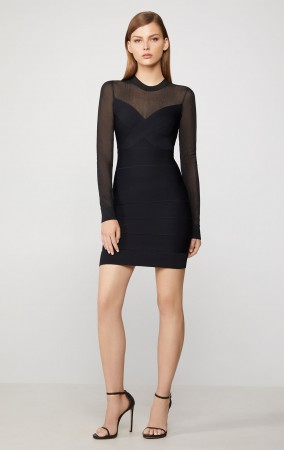 Herve Leger Illusion Mesh Mini Dress