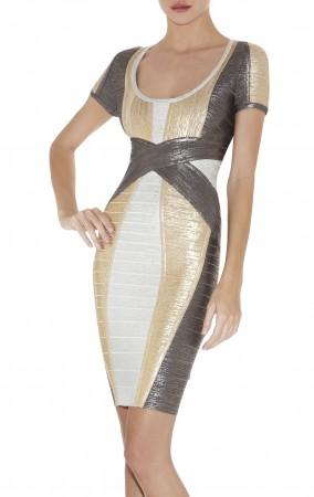 Herve Leger Carolyn Colorblocked Foil-Print Dress
