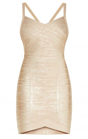 Herve Leger Light Gold Kourtney Woodgrain Foil Dress