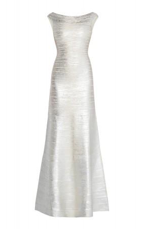 Herve Leger Sophia Metallic Foil Mermaid Gown