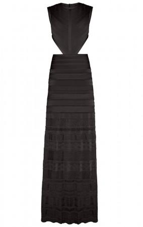 Herve Leger Black Alondra Pointelle Bandage Gown