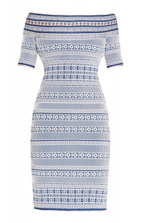 Herve Leger Lacey Plaited Lace Off-Shoulder Dress