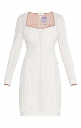 Herve Leger Valeria Multi-Texture Mesh Dress