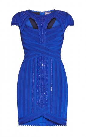 Herve Leger Cambnee Scallop Detail Beaded Dress