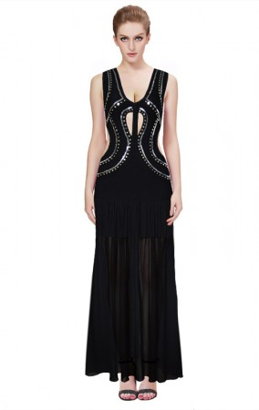 Herve Leger Bandage Gown Dresses Long Maxi Dress Deep V Neck Cutout Beaded Black