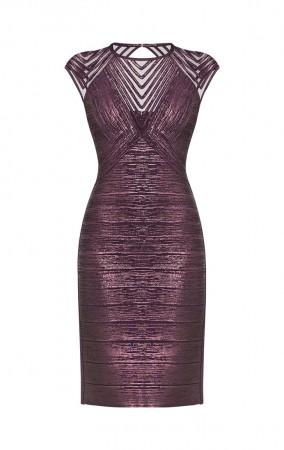 Herve Leger Frances Foiled Purple Metal  Bandage Applique Dress