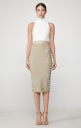 Herve Leger Metallic Animal Print Pencil Top+Skirt