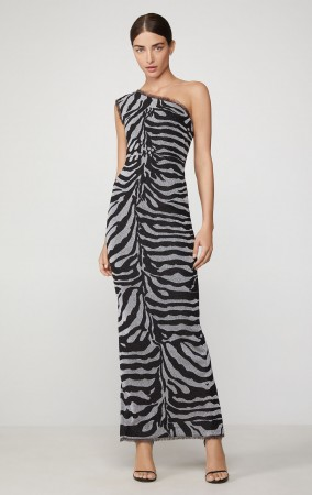 Herve Leger Metallic One Shoulder Zebra Gown