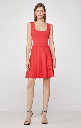Herve Leger Zigzag Picot Flared Dress - Coral Poppy