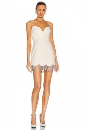 Sleeveless Tassel Crystal White Bodycon Bandage Dress