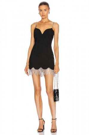 Sleeveless Tassel Crystal Black Bodycon Bandage Dress