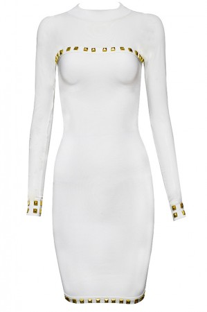 Herve Leger Bandage Dresses Long Sleeve Sequined O Neck Gauze White