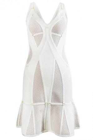 Herve Leger Celina Plaited Mesh Ring Detail Dress