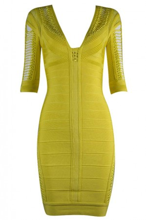 Herve Leger Bandage Dresses V Neck Half Sleeve Yellow